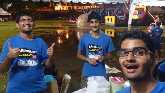 Luvesh, Riekesh and Ummeesh having a blast at Muhibah Walk 2015